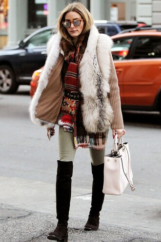 coat olivia palermo streetstyle winter coat fur coat fur knee high socks winter outfits