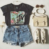 mtv,flowers,graphic tee,letters,top