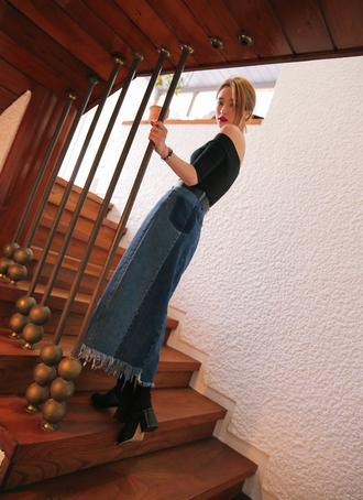 skirt frayed denim maxi skirt