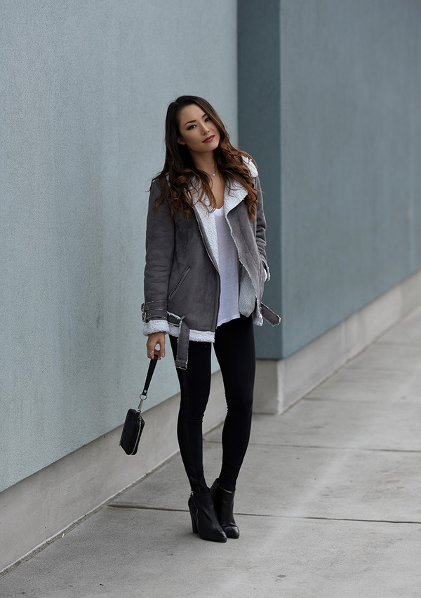 Coat: jessica r., blogger, shearling jacket, grey jacket, skinny ...