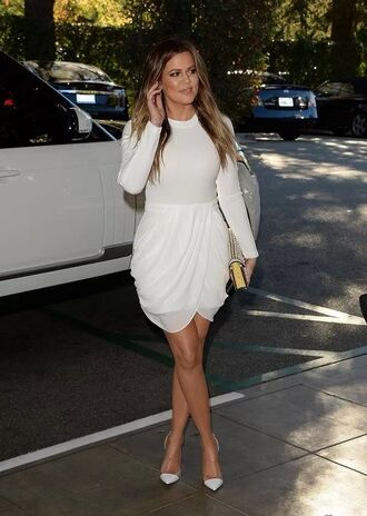 dress white dress short dress khloe khloe kardashian style black dress mini dress cute dress koko classy bodycon mid dress fashion blonde hair kardashians