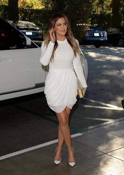 dress white dress short dress khloe khloe kardashian