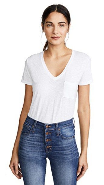 Madewell v neck cotton white top
