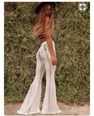 pants white lace white lace lace flare pants festival festival clothing white flare pants cochela