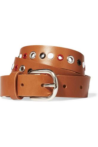 embellished belt leather tan