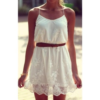dress white lace dress white lace skirt embroidered dress skirt with suspenders cute sleeveless dress sleeveless dress