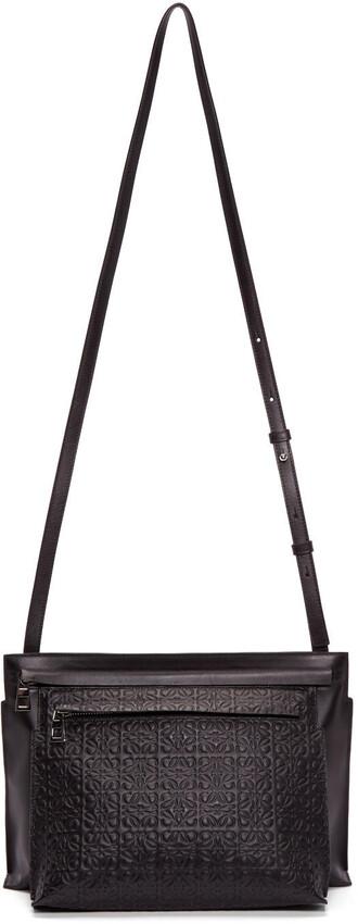 bag shoulder bag pouch leather black black leather