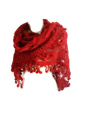 scarf,shawl,crochet,handcraft,women,girly,red scarf,etsy,yarn,fashion,gift ideas,fall outfits,holidays,haute couture,red