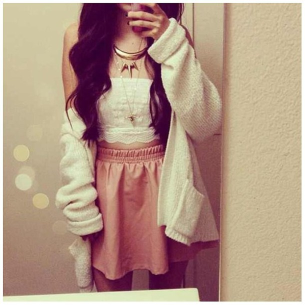 jacket clothes skirt leather crop tops top bandeau bustier white sweater necklace gold lace blouse