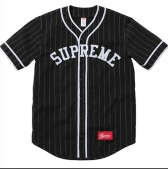 supreme jersey black white baseball jersey stripes