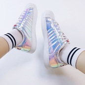 shoes,holographic,fashion,style,white,sneakers,summer,boogzel,holographic shoes,adidas,girl,girly,girly wishlist,tumblr,adidas shoes,adidas originals,adidas superstars