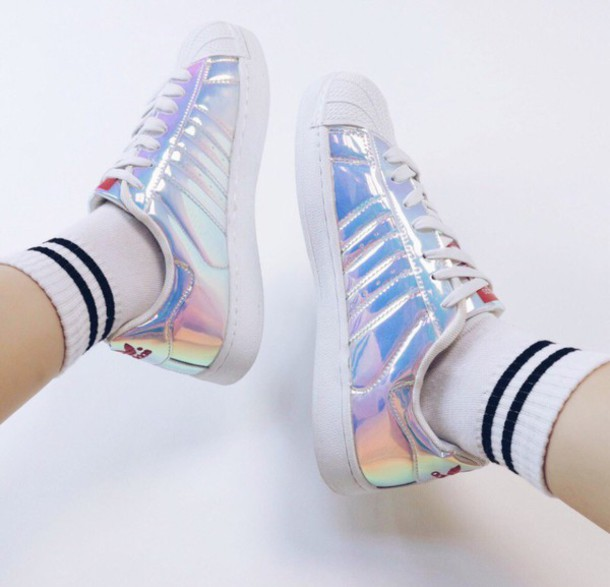 d634f99aebe shoes holographic fashion style white sneakers summer boogzel holographic shoes  adidas girl girly girly wishlist tumblr