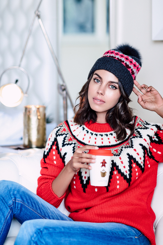 vivaluxury - fashion blog by annabelle fleur: nyfw mini moment blogger hat sweater winter outfits beanie christmas sweater winter sweater red sweater tumblr coffee printed sweater christmas pom pom beanie denim jeans blue jeans