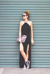 sunglasses,dress,bag,shoes,printed pouch,slit dress,black dress,maxi dress,high top bun,bun,black sunglasses,pouch,sneakers,high top sneakers,high top converse,black converse,converse,black sneakers
