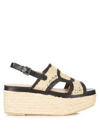 sandals flatform sandals leather black beige shoes