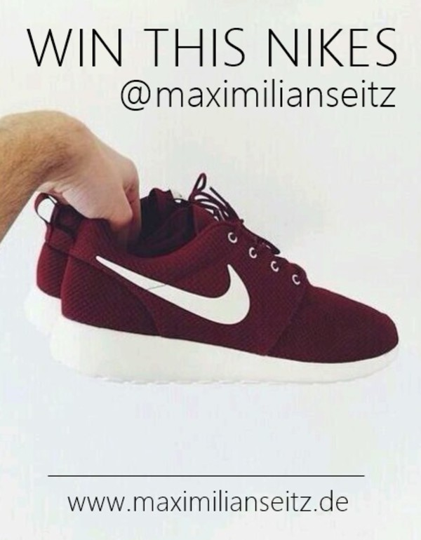 shoes nike roshe run nike roshe run nike running shoes nike air instagram burgundy red sneakers red