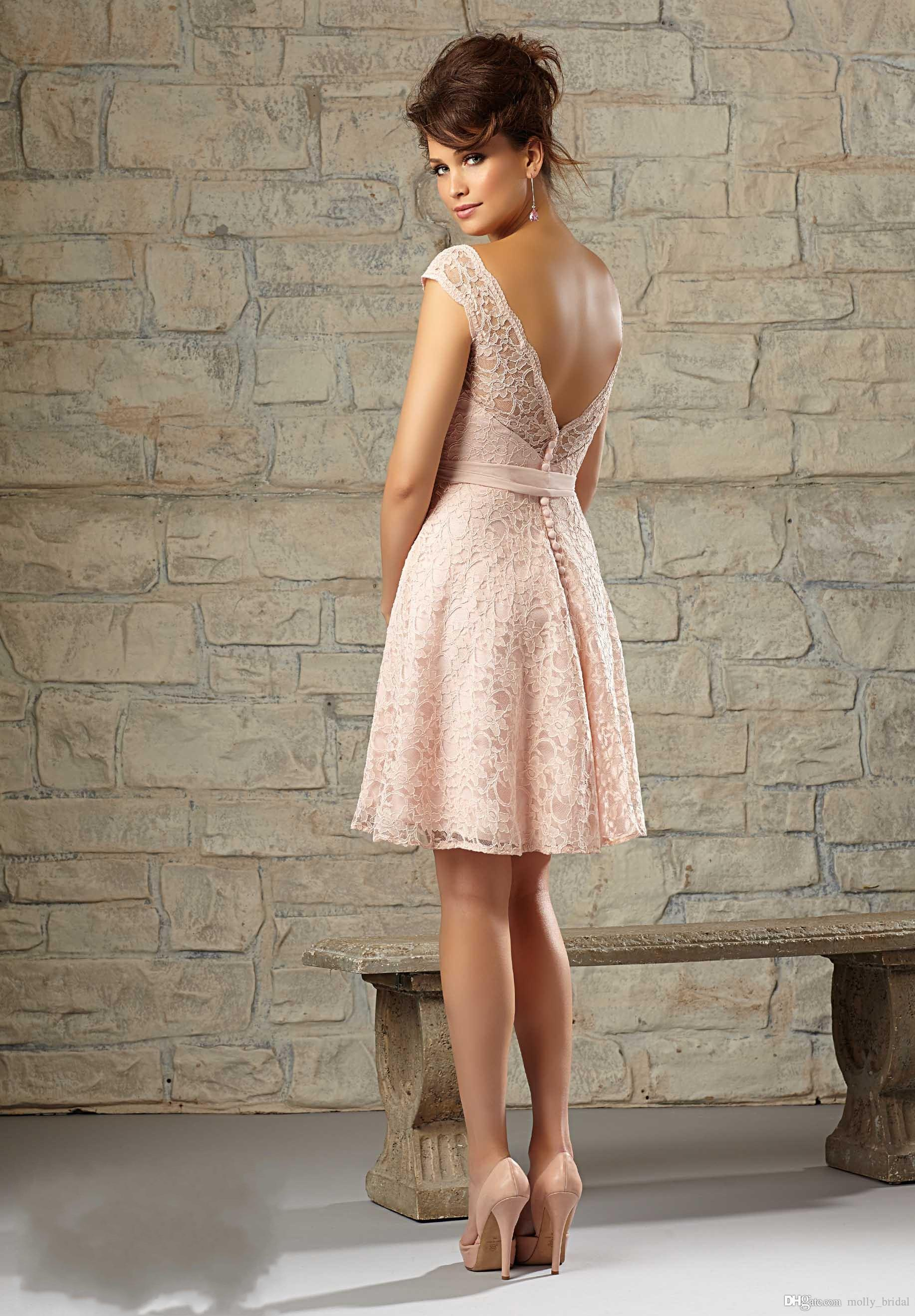 Cheap short elegant coral bridesmaid dresses 2016 lace for Short elegant wedding dresses