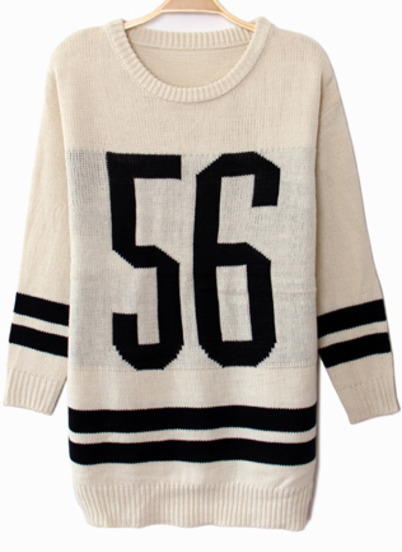 White long sleeve 56 print knit sweater