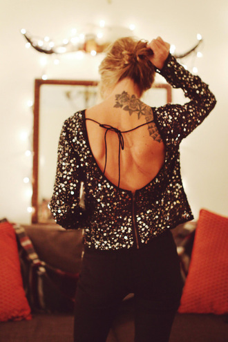 shirt top tie sparkly nye sparkle cut out top open back