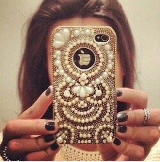 phone case phone cover. embellished bling pearl iphone 5 case gold