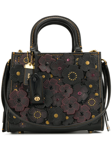 women tea bag leather black roses