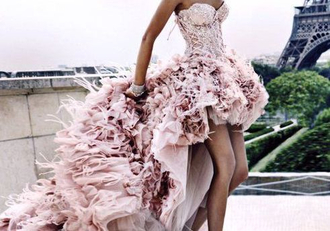 dress light pink ineed feathery floral beautiful ball gown dress wedding dress lace up side high low frilly dress georgous corset dress flowy dress so beautiful