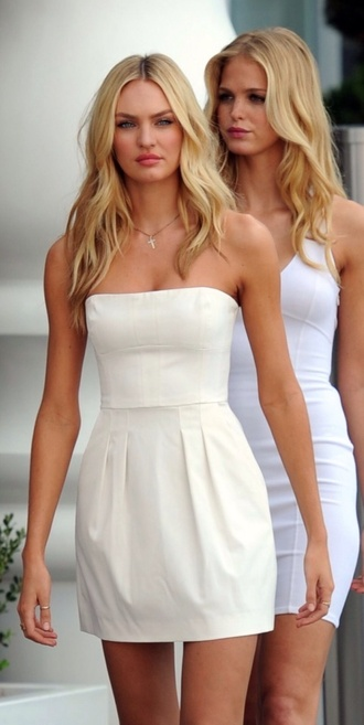 dress candice swanepoel victoria's secret very sexy jet tour in miami mondrian hotel white dress strapless dress white mini dress