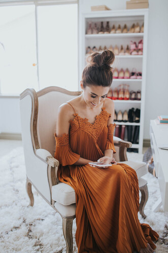hello fashion blogger dress lace brown apple mother and child off the shoulder flowers instagram brown dress pleated dress maxi dress