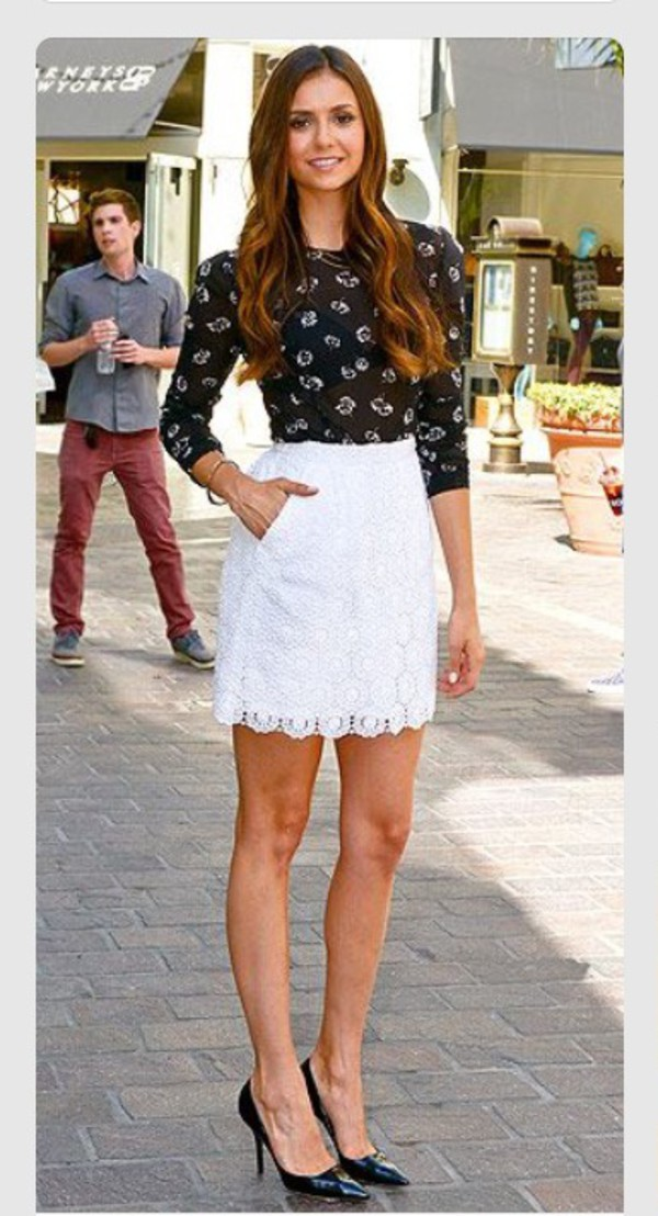 Skirt White Skirt Black Black Shirt Nina Dobrev Shirt Wheretoget