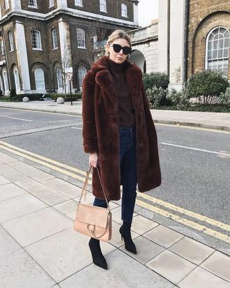 coat tumblr brown coat teddy bear coat fuzzy coat denim jeans blue jeans boots black boots sunglasses bag turtleneck winter outfits
