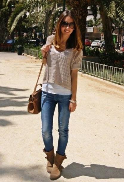 29daf9f985e0 bag brown bag brown leather bag brown leather bag blouse beige blouse  blouse jeans skinny jeans