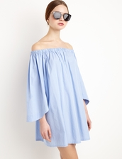 dress,baby blue striped ots dress by new revival,blue dress,blue off the shoulder dress,striped dress,blue stripes,blue striped dress,resort dress,ss16,off the shoulder,summer dress,summer outfits,special occasion dress