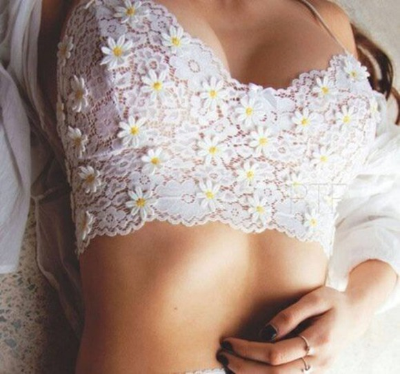 daisy white crop tops top lace bralette