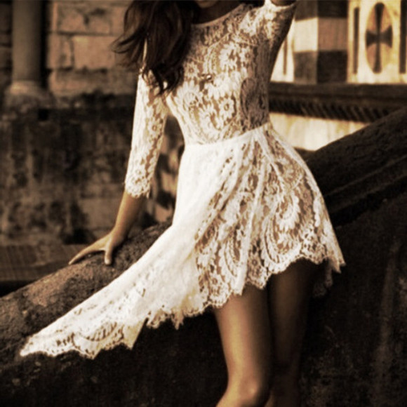 dress asymmetrical asymmetrical dress lace dress lace white lace dress three quarter sleeve