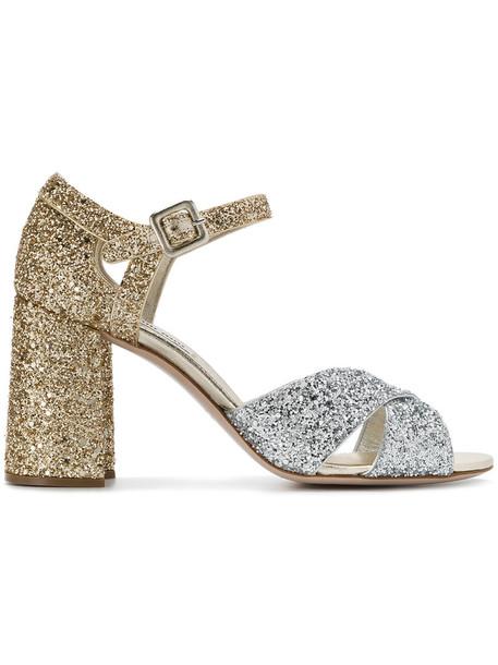 Miu Miu glitter women sandals gold silver leather grey silver glitter metallic shoes