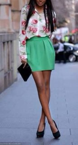 skirt tulip skirt green