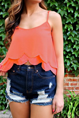 scalloped scallop coral summer outfits top beaded hem beaded tank beaded crop top beaded coral tank coral crop top coral summer top scalloped hem
