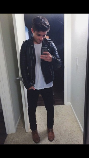 shoes boots jacket leather jacket sean o'donnell clothes style cool selfie
