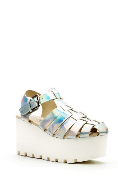 Multi-Strap Platform Holographic Sandals Womans Chunky Sole Gladiator Size 5