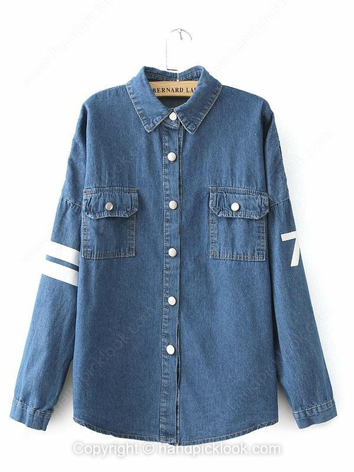 Blue Contrast Lapel Long Sleeve English Letters Print Coat - HandpickLook.com
