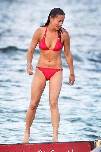swimwear bikini bikini top bikini bottoms summer beach red bikini pippa middleton