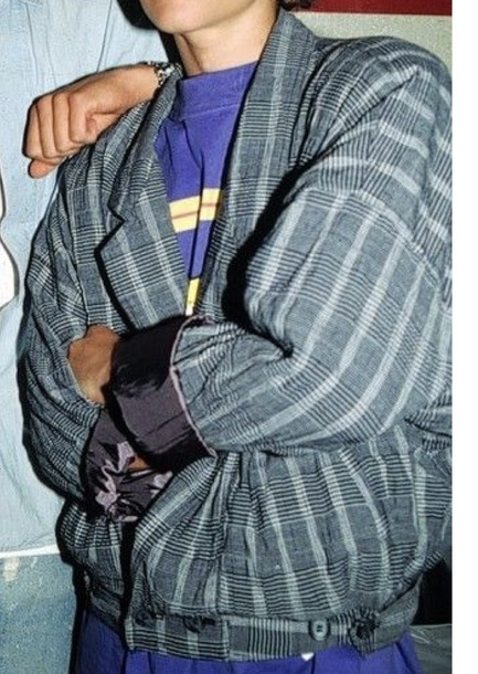 jacket grey blue stripes plaid bomber jacket
