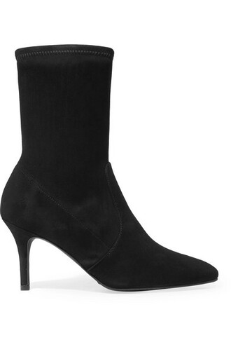 sock boots suede black shoes