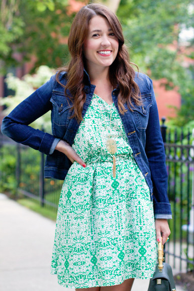 green dress summer dress summer outfits green blogger sequins and stripes hipster boho denim jacket denim necklace