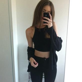 cardigan halter top black jeans dress tank top