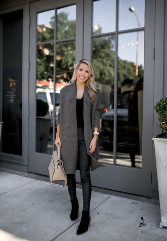 krystal schlegel blogger leggings sweater shoes blouse fall outfits ankle boots cardigan black pants