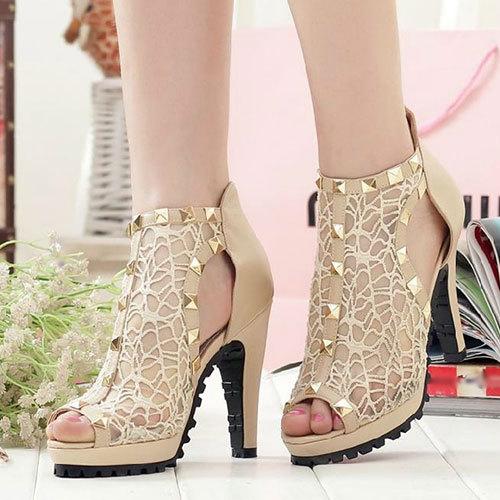 shopbazar shopping mall — [grzxy61900415]Cutout Rivets Mesh High Block Heel Peep-toe Sandal