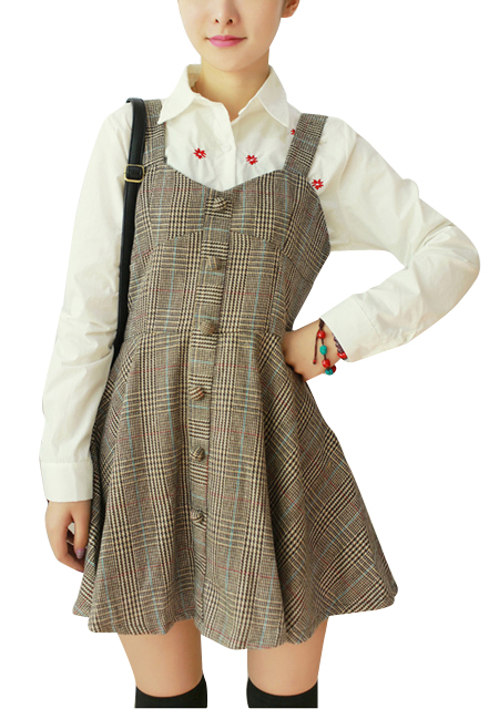 Women's Summer Stylish Sweet Plaid High Waist Preppy Style Dress online - vessos.com