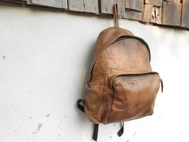 Bag: brown leather backpack, vintage eastpack leather backpack ...