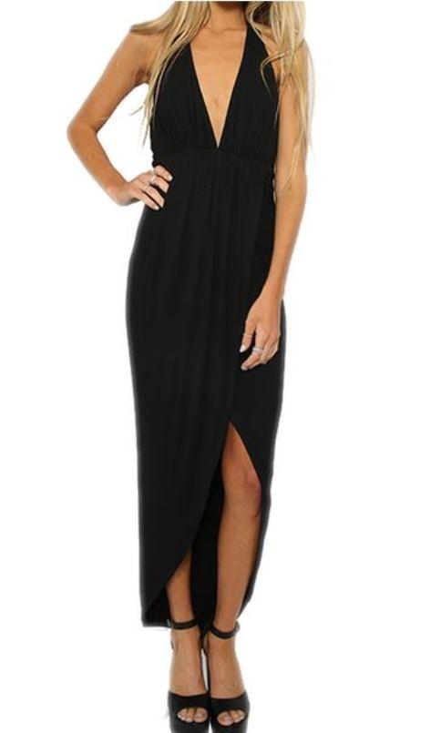 Black v neck sleeveless high low dress
